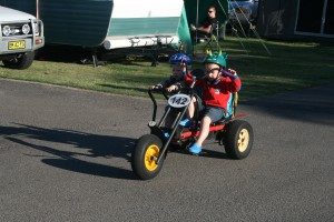 Riley & Lucas on the bike at Fraser Lodge C/P