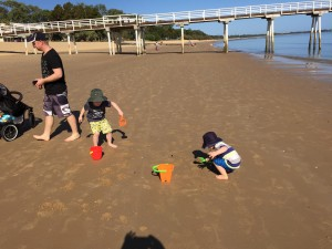 Building sand castles at Hervey Bay